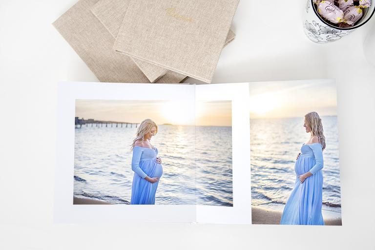 gravidfotografering i göteborg fotobok linneomslag