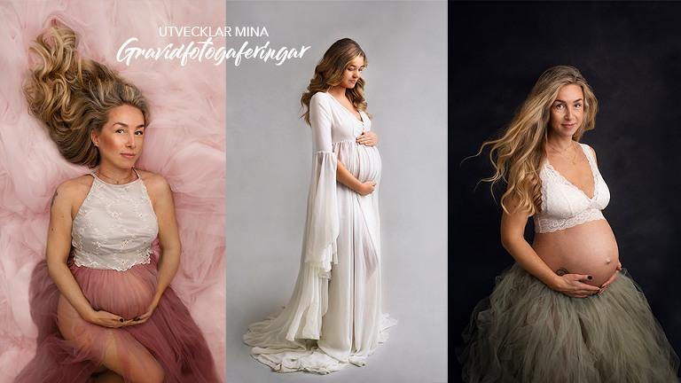 gravidfotografering i studion fotograf Maria Ekblad